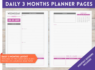 "8.5"" x 11"" inch - 3 Month Daily Planner Pages"