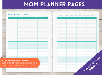 "8.5"" x 11"" inch - Mom Planner Pages"
