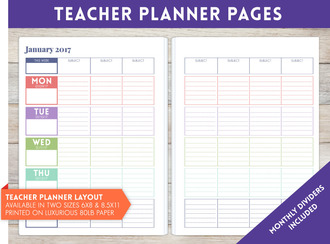 "8.5"" x 11"" inch - Teacher Planner Pages"