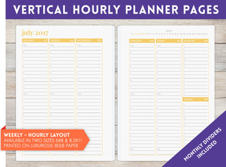 "8.5"" x 11"" inch - Vertical Hourly Weekly Planner Pages"
