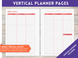 "8.5"" x 11"" inch - Vertical Weekly Planner Pages"