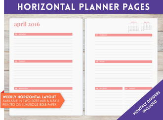 "8.5"" x 11"" inch - Horizontal Weekly Planner Pages"