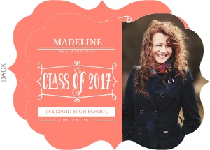 Coral Whimsical Frame Graduation Invitation
