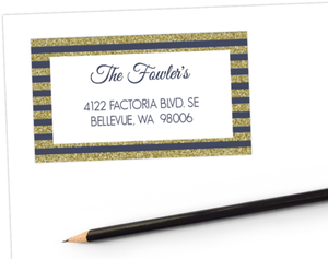 Gold Glitter Ball Dropping Address Label