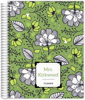 Green & White Floral Pattern Monthly Planner