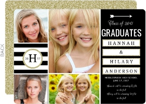Sophisticated Glitter Joint Twins Graduation Annoucement