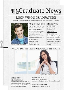 Vintage Newsletter Joint Sibling Graduation Annoucement