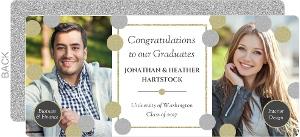Fancy Faux Glitter Monogram Joint Graduation Announcement
