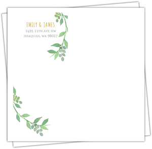 Watercolor Botanical Wreath Custom Envelope