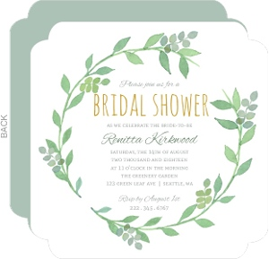 Watercolor Botanical Wreath Bridal Shower Invitation