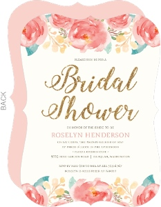 Pink Elegant Watercolor Flower Bridal Shower Invitation