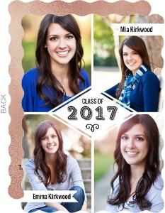 Quad Photo Collage Joint Twins Graduation Announcement