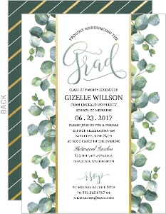 Greenery Watercolor Foliage Graduation Invitation
