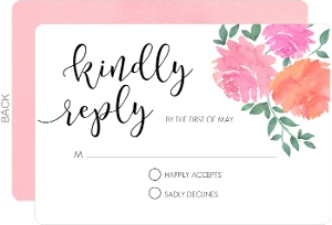 Pink Watercolor Peonies Wedding Response Card