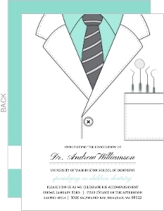 Mint Dentist Coat Dental School Graduation Invitation