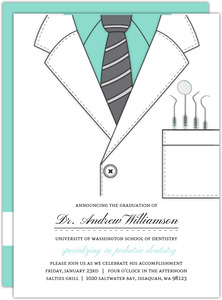 Mint Dentist Coat Dental School Graduation Invitation