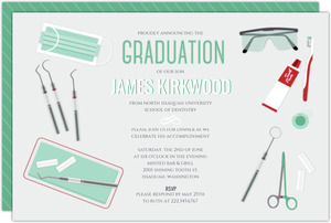 Scattered Dentist Tools Graduation Invitation