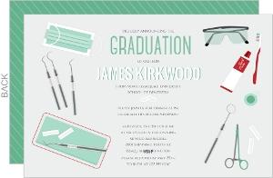 Scattered Dentist Tools Graduation Invitation