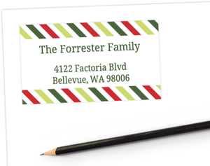 Colorful Stripes Christmas Address Label