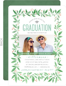 Watercolor Spring Green Foliage Joint Graduation Party Invitation