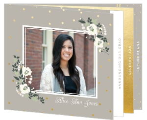 Gold Polka Dot Ivory Flower Booklet Graduation Announcement