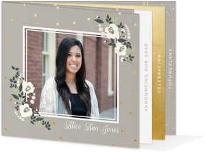 Gold Polka Dot Ivory Flower Booklet Graduation Invitation