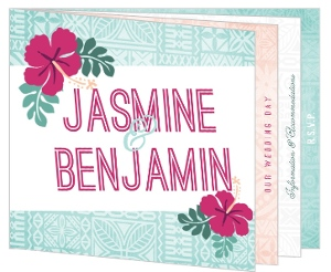 Hawaiian Floral Pattern Wedding Booklet Invitation