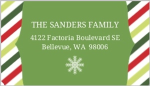 Green And Red Striped Address Label