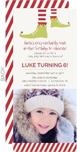 Whimsical Elf Feet Holiday Kids Birthday Invitation