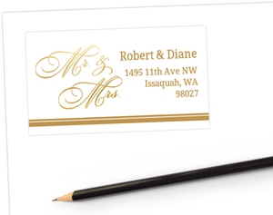 Faux Gold Foil Mr & Mrs Address Label