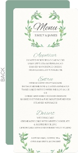 Watercolor Botanical Wreath Wedding Menu Card