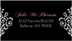 Black And Pink Flourish Sweet 16 Birthday Address Label