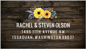 Yellow Watercolor Flower Woodgrain Address Label