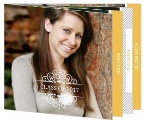 Yellow Decorative Frame and Stripes Graduation Invitation