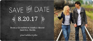 Typographic Chalkboard Photo Save The Date Card