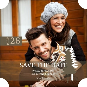 Green Kraft Pine Trees Save The Date Card