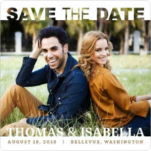 Modern White Square Save The Date Magnet