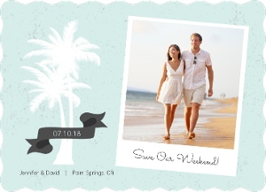 Beachy Palm Photo Save The Date Magnet