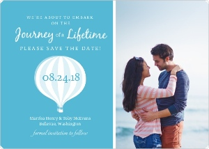 White Watercolor Hotair Balloon Save the Date
