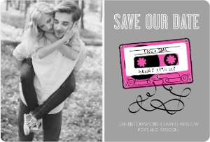 Bright Pink Mixed Tape Save The Date Card