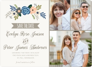 Fresh Florals Taupe Accents Save the Date Announcement