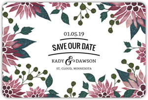 Elegant Holiday Florals Save The Date Magnet