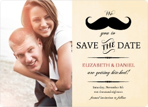Yellow Vintage Mustache Save The Date Card