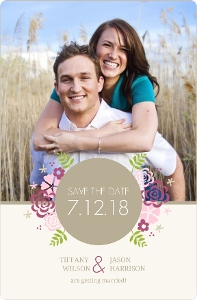 Pink Monogram Flowers Save The Date Card