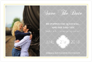 Gray And Yellow Morrocan Pattern Save The Date Card