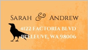 Orange And Black Silhouettes Halloween Address Labels