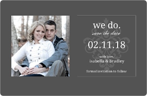 Gray White Flourish Save the Date Announcement