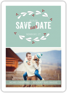 Berry Vintage Wreath Save The Date Magnet