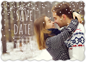 Delicate Snowfall Save The Date Magnet