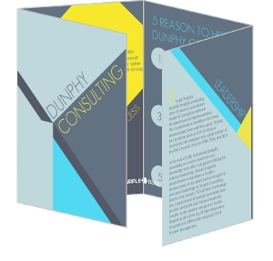 Blue Yellow And Gray Geometric Brochure